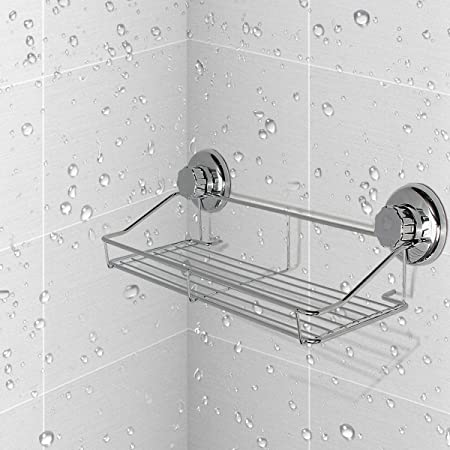 Shower Shelf TAPCET Bathroom Wall Shelf Vacuum Suction Cup Shower ...