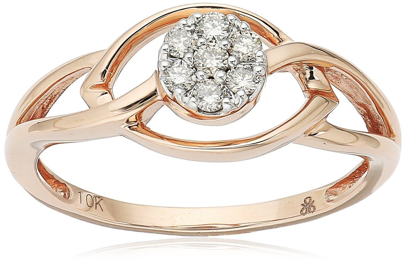 10k Rose Gold Round-Cut Diamond Fashion Ring, Size 8