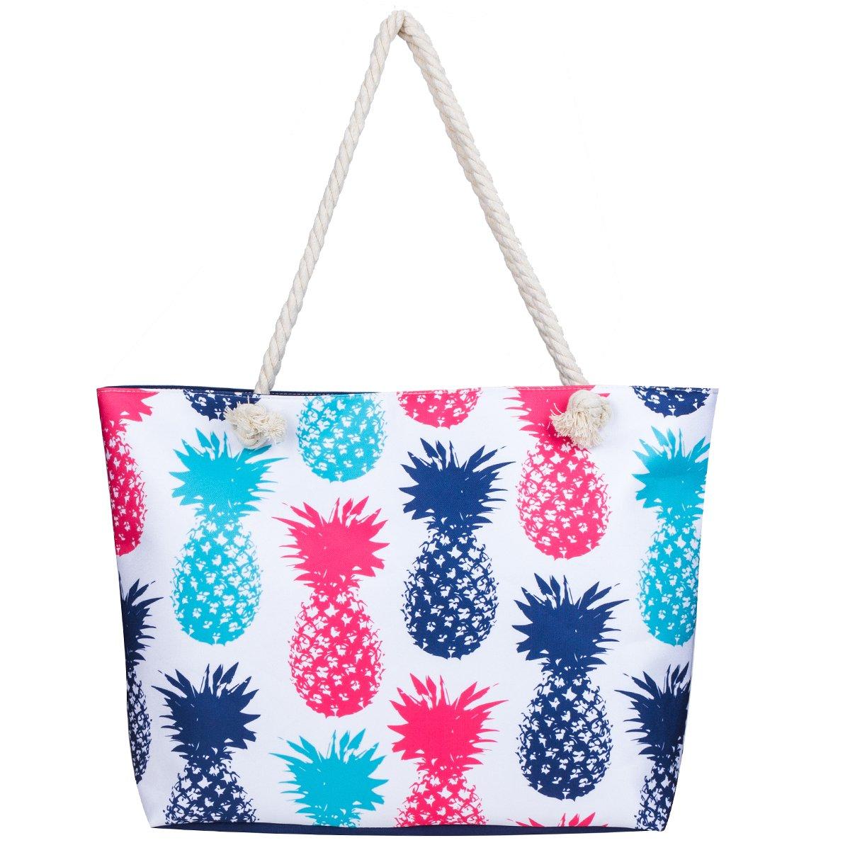 MISS FANTASY Beach Bag Large Waterproof Flamingo Pineapple Summer Tote with waterproof case (Pineapple 2)