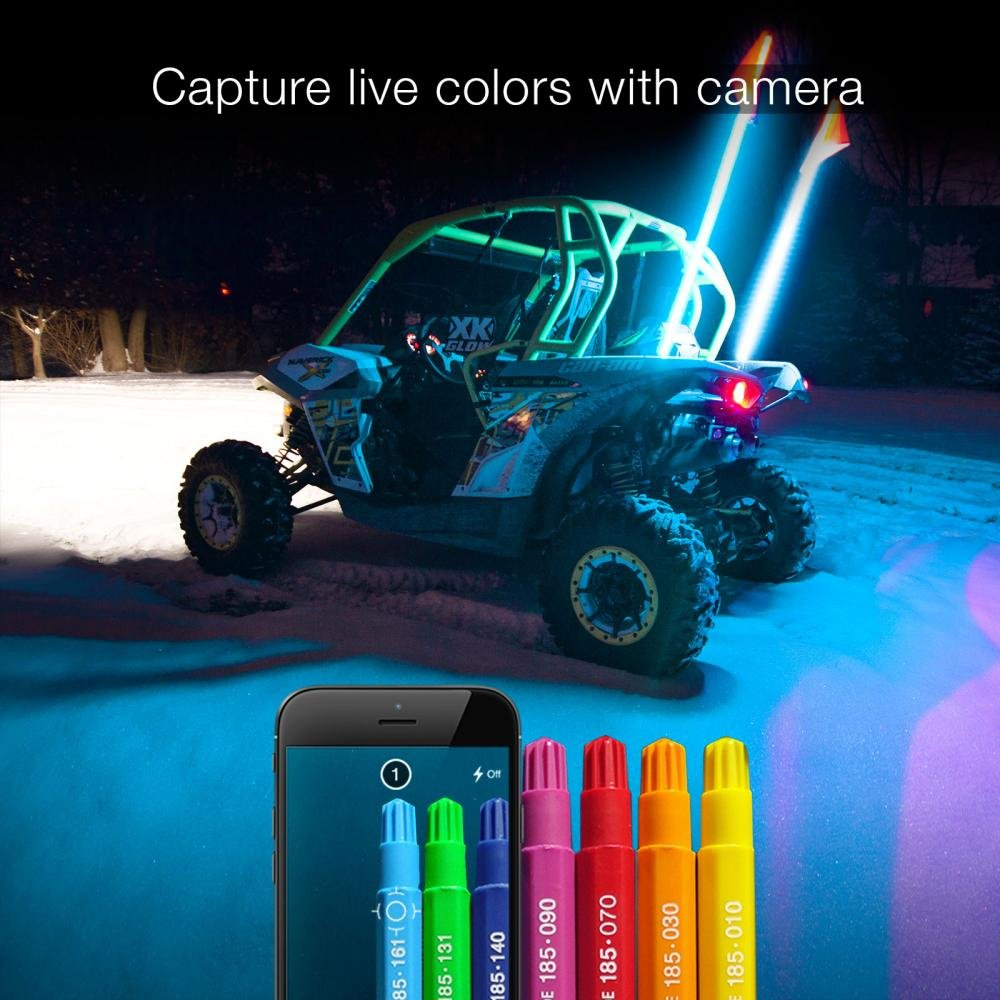 2x Whip XKchrome Advanced App Control LED Whip Light Kit for 4x4 Offroad UTV ATV Can-Am Polaris Razr Yamaha