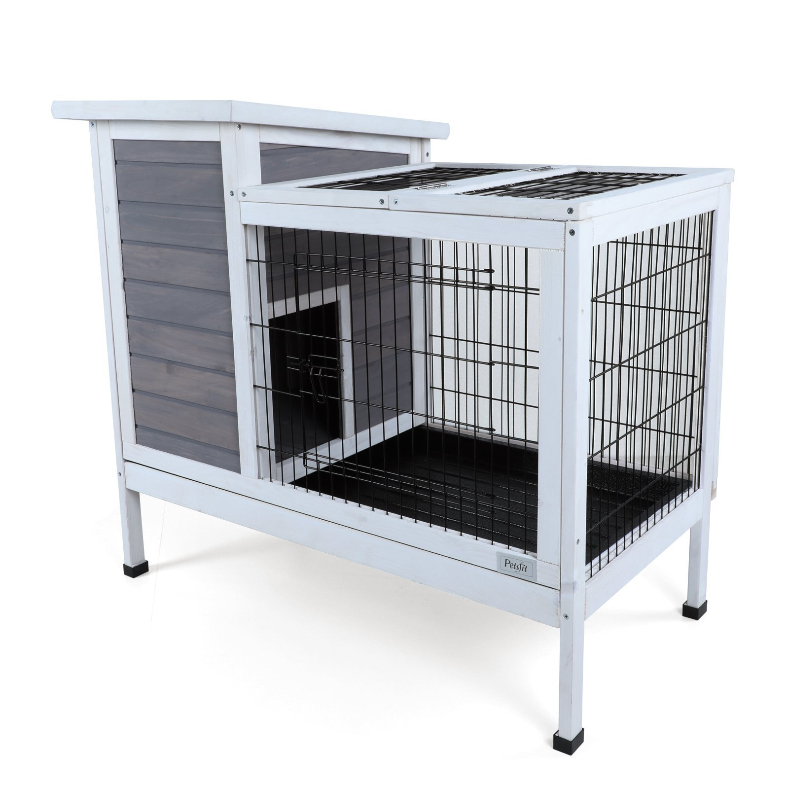 Petsfit Wood Rabbit Cage with Deeper Removable Tray, 1-Year Warranty by Petsfit