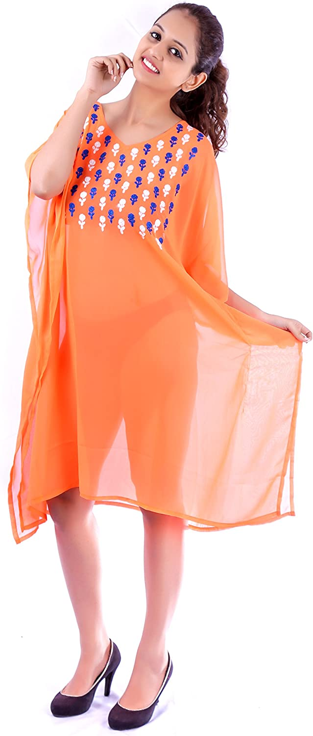 SUNROSE Orange Chain Stitched Embroidered Beach Cover up Kaftan Caftan