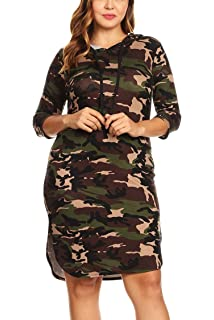 Bubble B Women s Junior Plus Size Camo Print Quarter Sleeve Bodycon Hooded  Dress 06bc4cd02