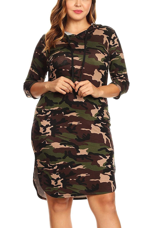 d121a1926bc7d Bubble B Women's Junior Plus Size Camo Print Quarter Sleeve Bodycon Hooded  Dress at Amazon Women's Clothing store: