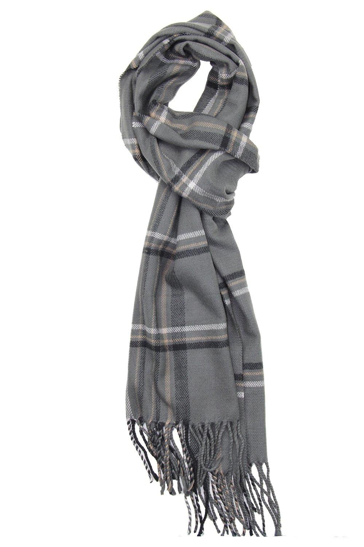 Achillea Men's Cashmere Feel Tartan Plaid Checked Winter Warm Scarf (Grey Multi Plaid)