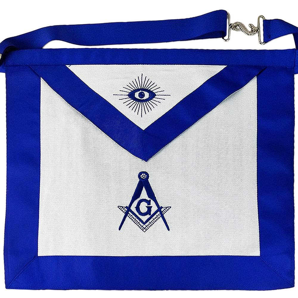 Imason Master Mason Masonic Apron Square Compass with G White Cloth
