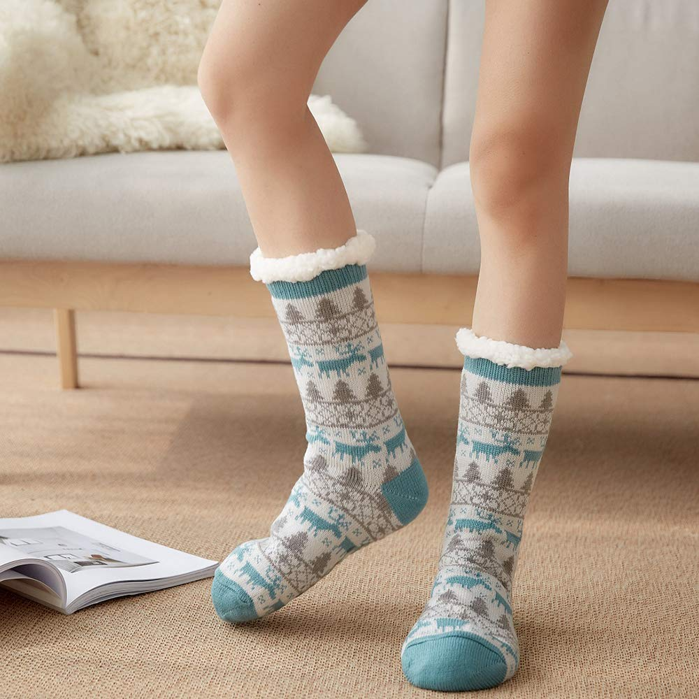 4YOUALL Womens Fleece Lining Soft Warm Fuzzy Sock, Christmas Thermal Knee High Stockings Slipper Socks (Lake Blue Deer)