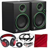 "Mackie CR Series CR3 - 3"" Creative Reference Multimedia Monitor Pair Deluxe Bundle with Closed-Back Headphones and More"