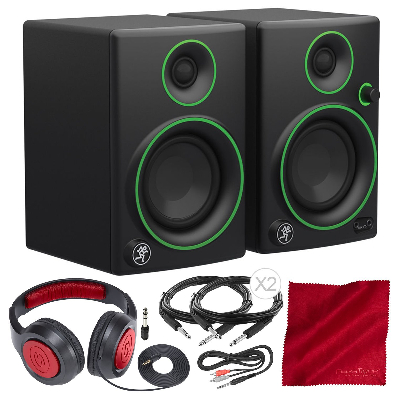 Mackie CR Series CR3-3'' Creative Reference Multimedia Monitor Pair Deluxe Bundle with Closed-Back Headphones and More