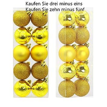 Christbaumkugeln Gelb.Beikoard Weihnachten Deko 5cm 10 Stücke Weihnachtskugeln