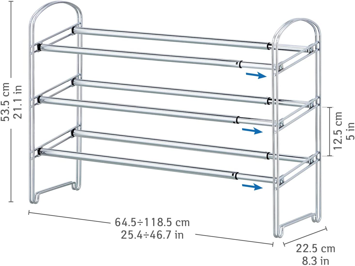 Dimensiones del zapatero extensible de acero inoxidable Tatkraft