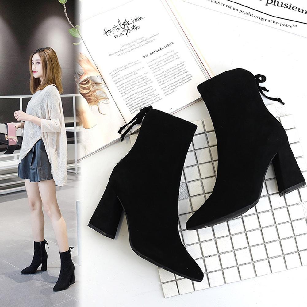 Frau Kurz Stiefel Breit Hoch Fersen Leder Dicker Warm Schnürung Reißverschluss Reißverschluss Schnürung Knöchel Schuhe schwarz 5719bb