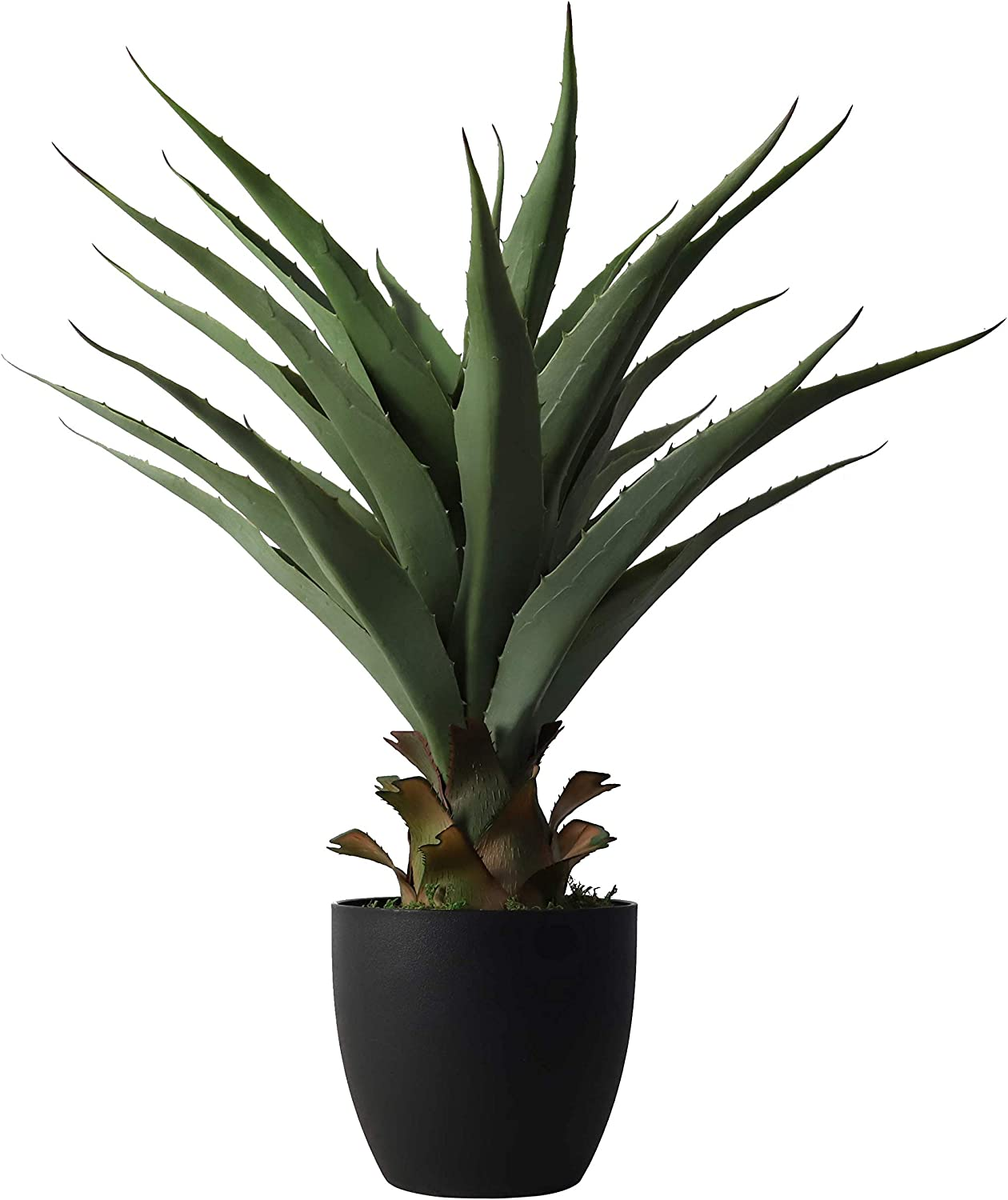 27 Inch Sansevieria Feaux Plants Agave Snake Plant Barbed Artificial Fake Green Plastic Sword Potted Greenery Decoration Office/Garden/Indoor