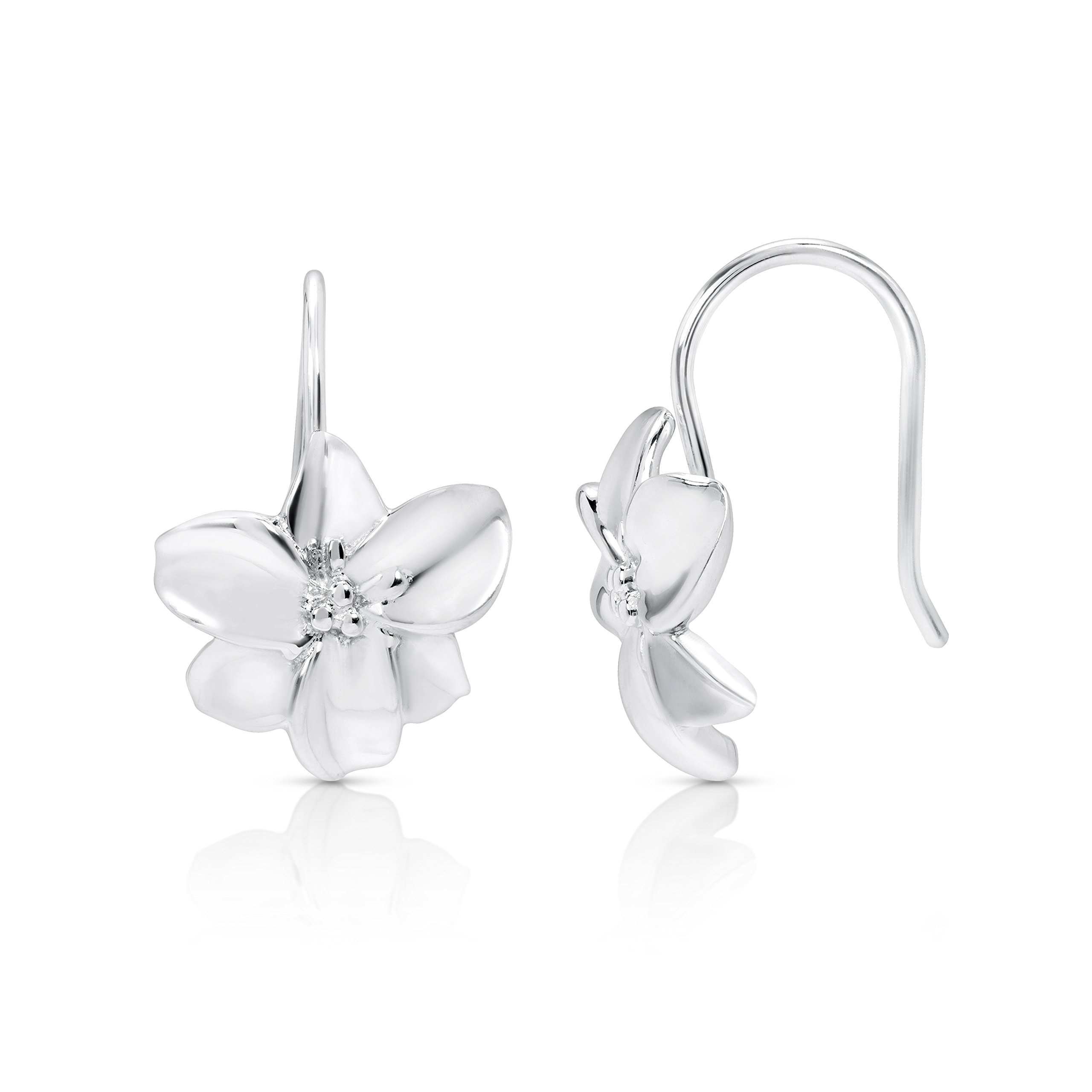 Sparkling Silver Lily Flower Earrings Never Rust 925 Sterling Silver Natural and Hypoallergenic Hooks For Women and Girls with Free Breathtaking Gift Box for Special Moments of Love By BLING BIJOUX