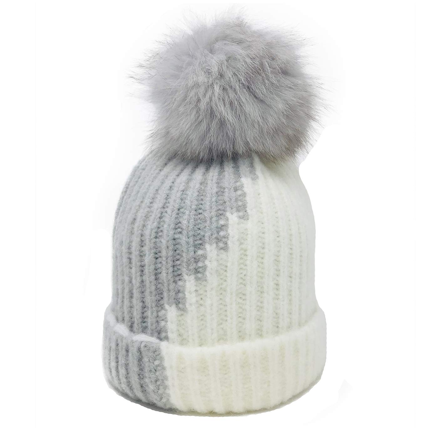 4ec340c032b Womens Beanie Hats for Winter Wool Warm Cap Real Fur Pom Pom Knit Beanie  Caps for Girls and Boys Gray   White Kids