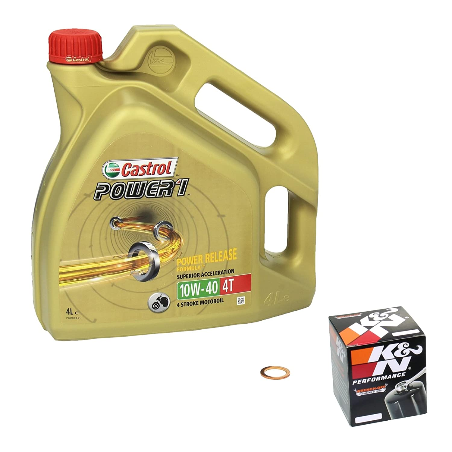 Castrol POWER1 (10W - 40 Oil Set Yamaha YZF-R1 Built 09-14 Oil K and N &Oil Shaft Seal-Crankshaft 4055029085152