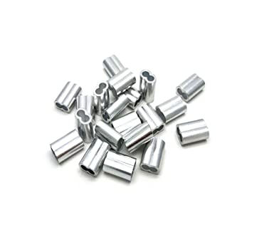 """Lot of 10  1//4/"""" Aluminum Cable Crimps Sleeves Clip Fittings New"""