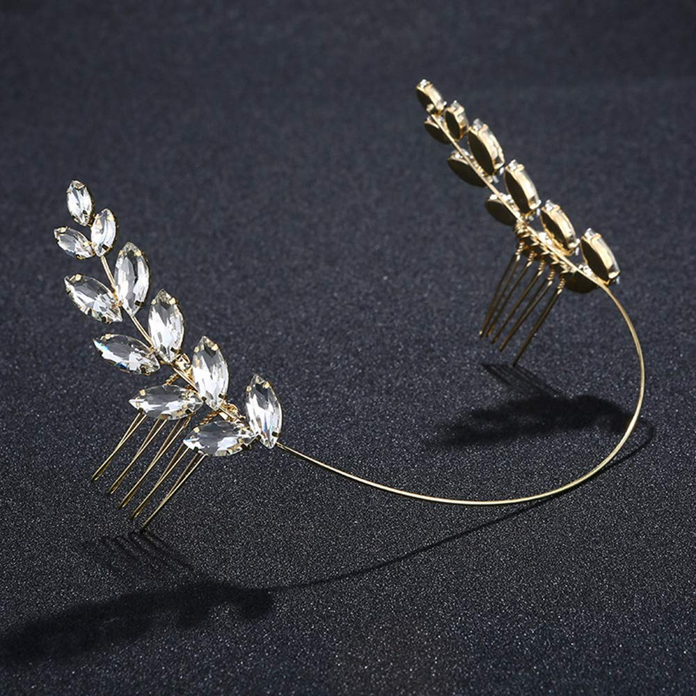 Great for Bridesmaid Prom,Bridal Shower,Bachelorette Party Reiko Gold Hair Comb Wedding Hair Side Combs Bridal Head Pin Headpiece Rhinestones Flower Hair Accessories for Bride Bridesmaid