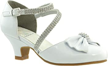 a0c50713e SOBEYO Kids Dress Shoes Girls High Heels Sandals Rhinestone Bow Accent  Kitten Heel Sandals SBO-