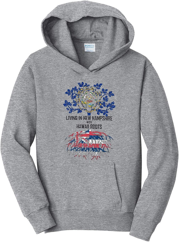 Tenacitee Girls Living in New Hampshire with Hawaii Roots Hooded Sweatshirt