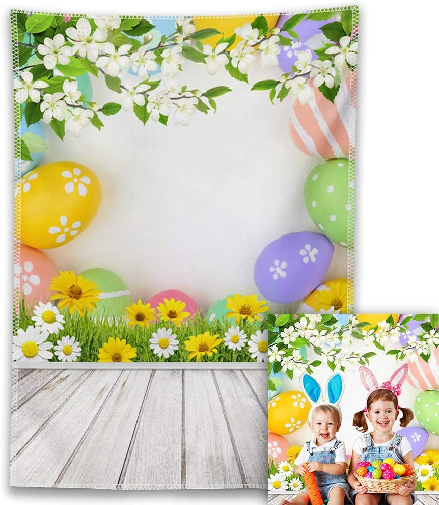 Allenjoy 5x7ft Easter Floral Photography Backdrop Spring Flowers Grass Colorful Eggs White Wooden Floor Background Birthday Baby Shower Party Decor Supplies Kids Portrait Photo Booth Studio Prop