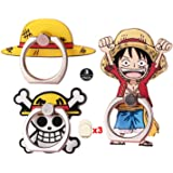 ZOEAST(TM) 3pcs Phone Ring Grip Straw Hat Pirate King Skull Flag Universal 360° Adjustable Holder Car Desk Hook Stand Stent K