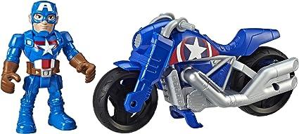 Playskool Marvel Super Heroes Adventures Captain American Power Up Racer Figure