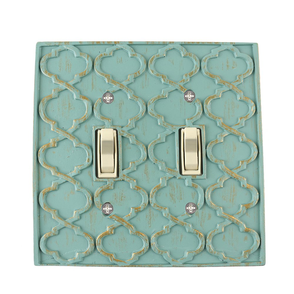 Meriville Moroccan 2 Toggle Wallplate, Double Switch Electrical Cover Plate, Buckingham Green with Gold