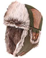 SIGGI Faux Fur Trapper Hat for Men Cotton Warm Ushanka Russian Hunting Hat