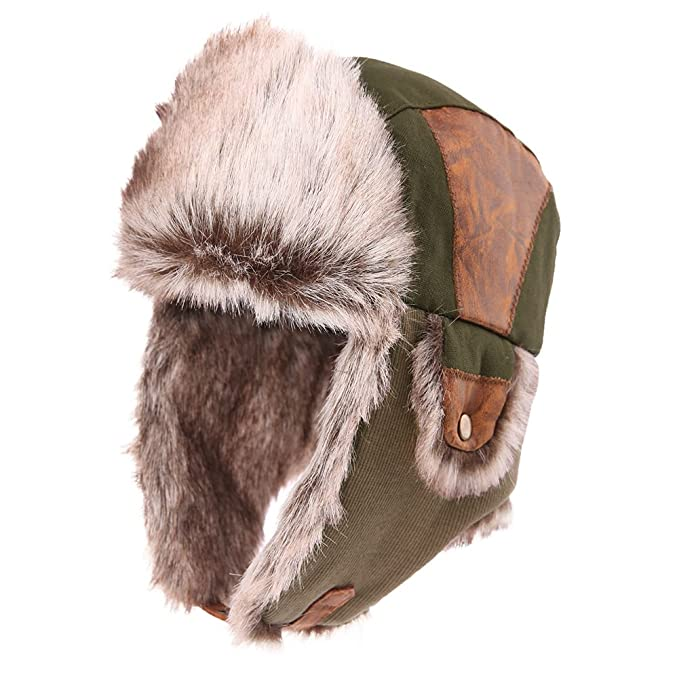 3688a88ee51 SIGGI Windproof Russian Bomber Hats for Men Earflap Trapper Hat Faux Fur  Ushanka ArmyGreen  Amazon.co.uk  Clothing