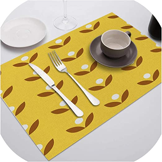 Amazon Com Yellow Placemat Polyester Cotton Linen Drink Coasters Table Mats For Dining Table Wedding Party Kitchen Decoration Accessories Purple L Polyester Home Kitchen