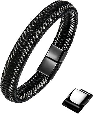 Tressé en Cuir Hommes Bracelet Bijoux Punk Noir Acier Inoxydable Fermoir Magnétique