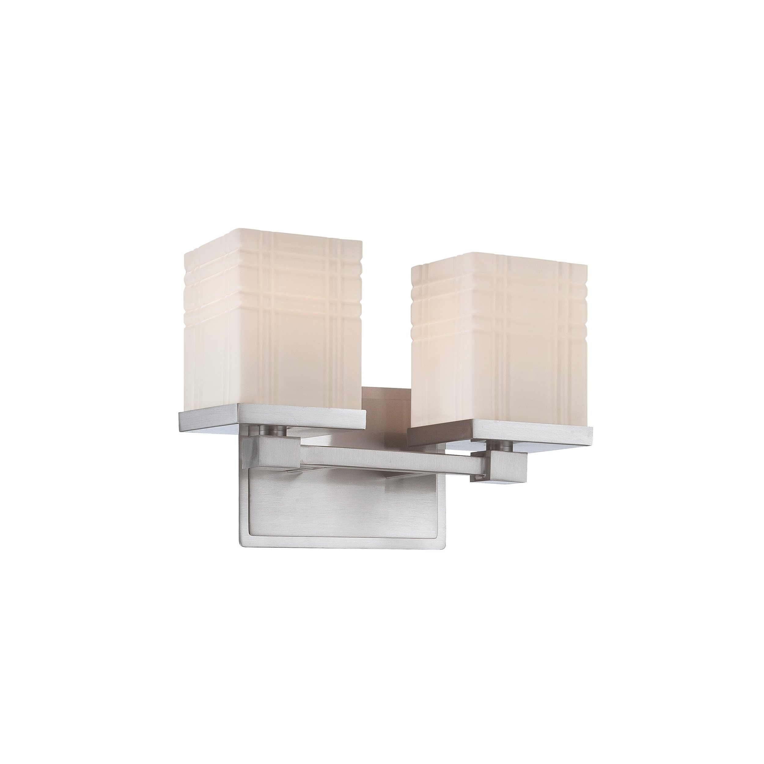 Lite Source LS-16342 E27 Type A 60W x 2 Benicio 2-Lite Vanity with PS/Frost Glass Shade