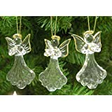 Glass Angel Ornaments - Set of 3 Mini Glass Angels - One is Praying, Holding a Heart and Holding a Star - Gold Accent Glass Ornament Set - Christmas Angels