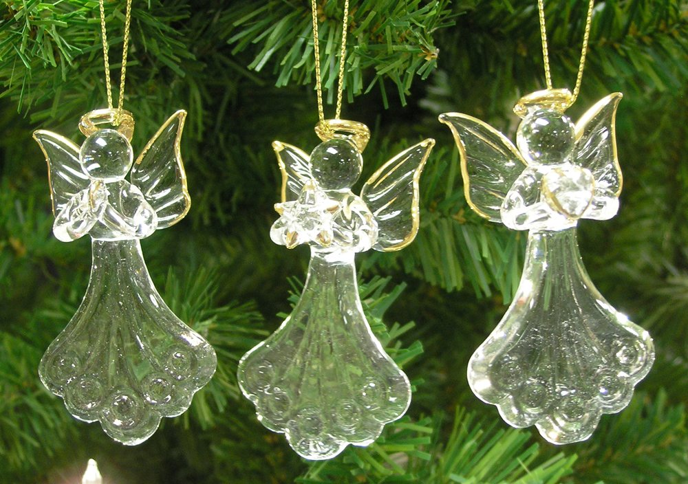 Amazon.com: Glass Angel Ornaments   Set Of 3 Mini Glass Angels   One Is  Praying, Holding A Heart And Holding A Star   Gold Accent Glass Ornament  Set ...