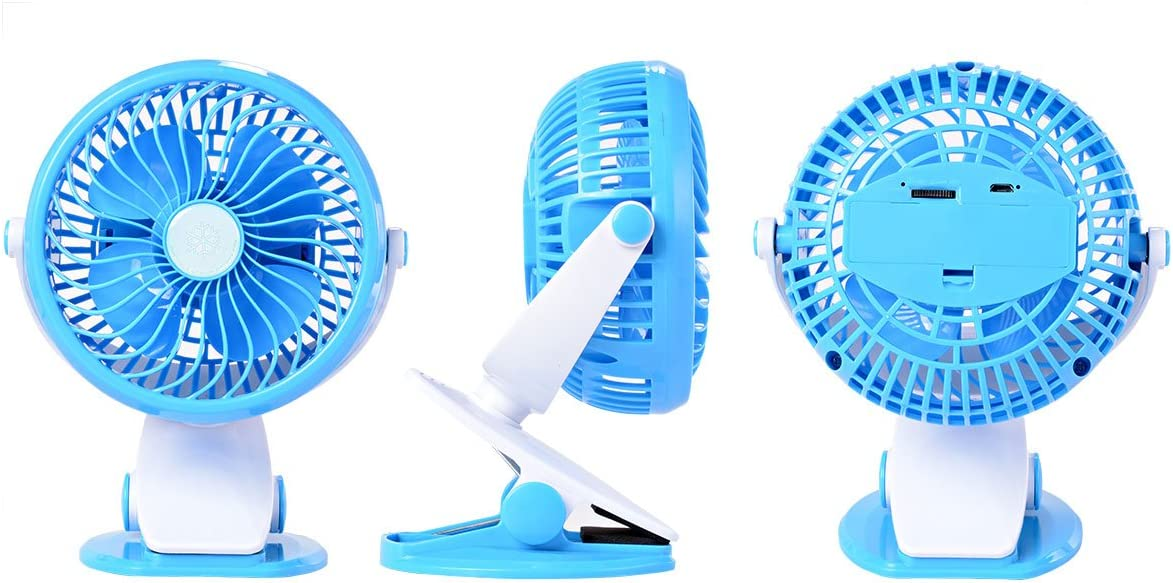 2 Bonus Mini Fans Blue HG079 Xcellent Global 5 Inch Portable Clip Fan Battery//USB Fan Desktop Fan Quietness Fans Portable Clip to Baby Stroller and Table with 2 Bonus 18650 Batteries