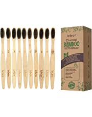 Bamboo Toothbrushes, 10 Pack Bamboo Toothbrushes with Eco-Friendly Paper Packaging and Soft BPA Free Bristles