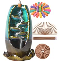 SOLEJAZZ Backflow Incense Burner Waterfall Incense Holder Ceramic with 120 Backflow Incense Cones + 30 Incense Stick for Home Office Yoga Aromatcherapy Ornamen