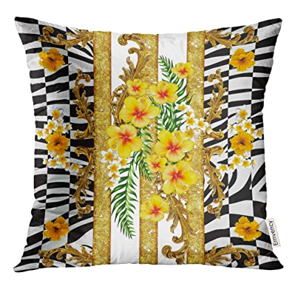 Amazon.com: UPOOS Throw Pillow Cover Baroque Pattern and ... on tropical theme, coastal living decor, tropical home ideas, tropical room decor, exotic tropical decor, tropical home modern, tropical home fabric, tropical flowers, tropical outdoor decor, tropical home diy, tropical bedroom, tropical interior design ideas, tropical rustic decor, bamboo decor, tropical artwork, tropical island decor, product garden decor, tropical deck decor, tropical beach, beach decor,