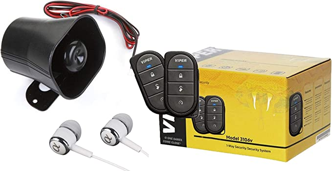 AVITAL 3100L 3-CHANNEL CAR ALARM WITH 2 REMOTES AND KEYLESS ENTRY WITH SIREN