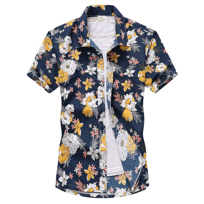 Mens Summer Fashion Beach Hawaiian Shirt Brand Slim Fit Short Sleeve Floral Shirts Casual Holiday Party Clothi