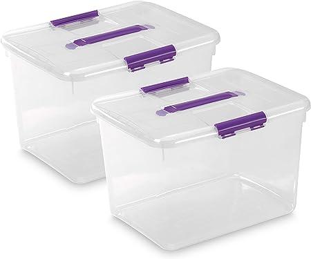 TODO HOGAR - Caja Plástico Almacenaje Grandes Multiusos con Asa - Medidas 425 x 325 x 280 mm - Capacidad de 30 litros (2): Amazon.es: Hogar