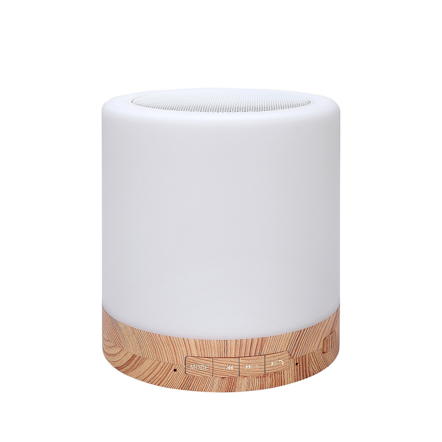 Table Lamp with Bluetooth Speaker – Perfect for Bedside Night Stand, Desk or Table – Six Color LED Light with Touch Control – Audio Speaker - Faux Wood Base