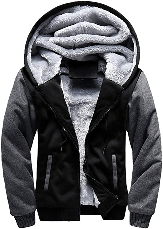 US Men Winter Warm Faux Fur Sweatshirt Hoodie Hooded Top Coat Oversized Outwear