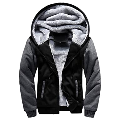 a54afeae7 iTLOTL Contemporary & Designer Mens M-5XL Hoodie Winter Warm Fleece Zipper  Jacket Outwear Coat