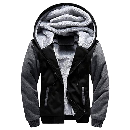 8adbbe221 iTLOTL Contemporary & Designer Mens M-5XL Hoodie Winter Warm Fleece Zipper  Jacket Outwear Coat