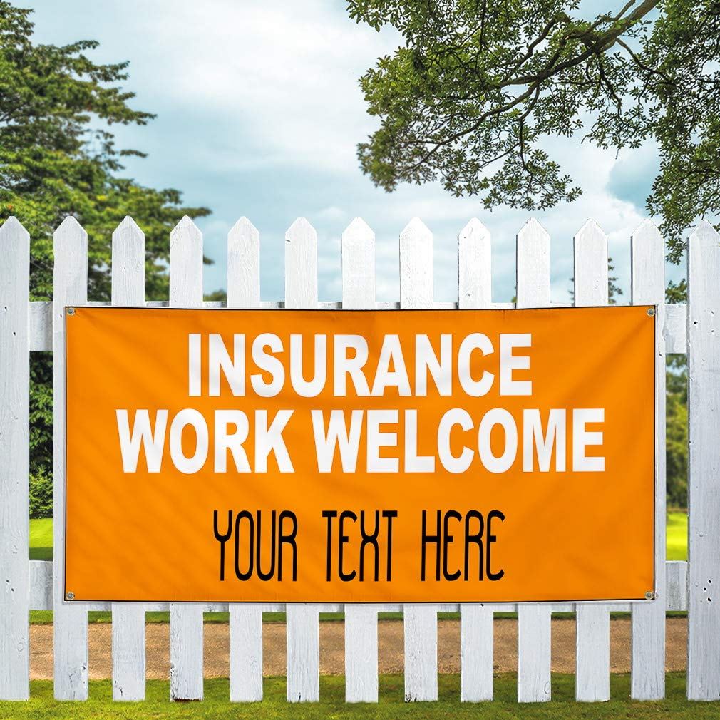 Custom Industrial Vinyl Banner Multiple Sizes Insurance Work Welcome Personalized Text Business Outdoor Weatherproof Yard Signs Orange 4 Grommets 12x30Inches