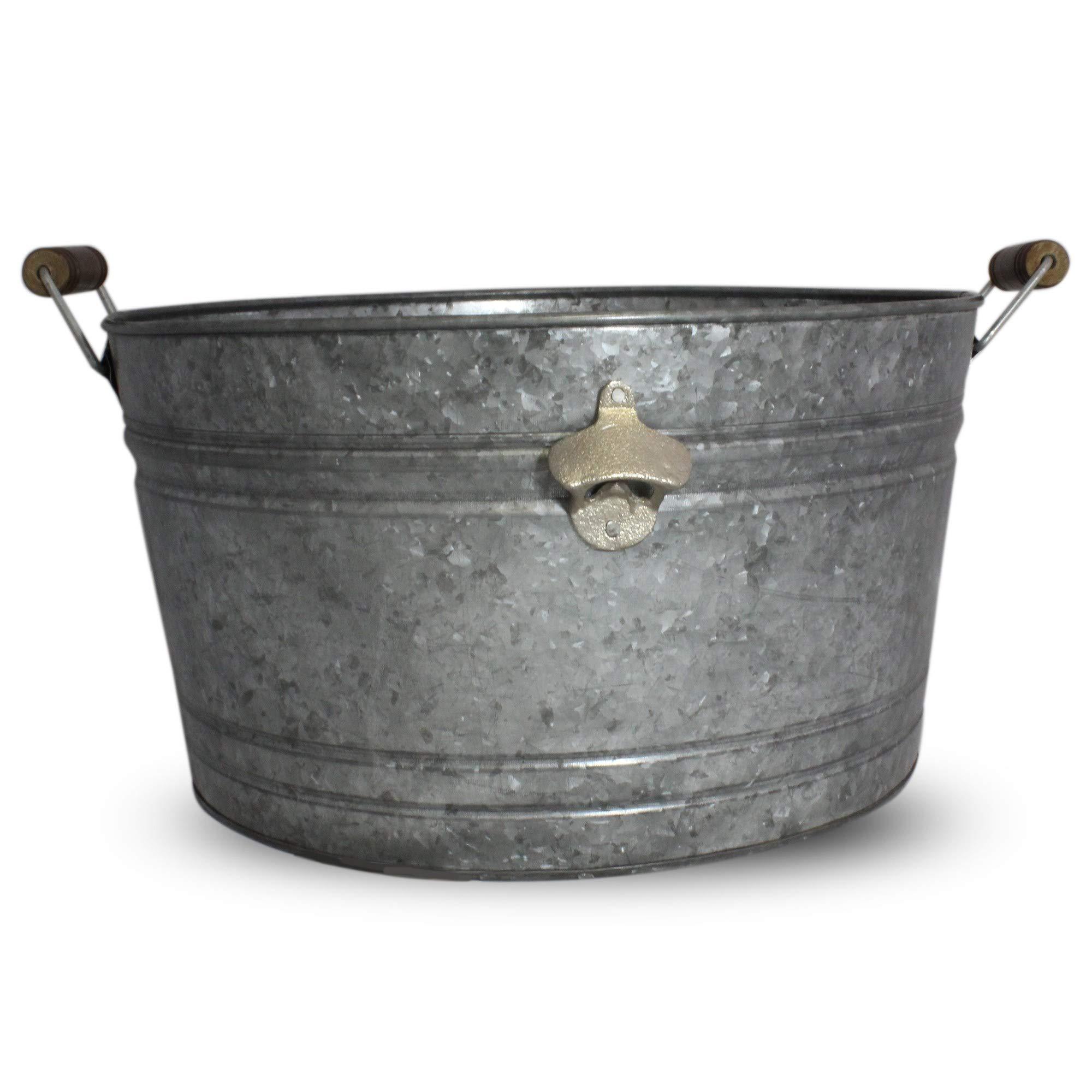IMPULSE! Napa Iron Galvanized Metal Big Party Set:Large Bucket, cutlery Caddy, Napkin holder