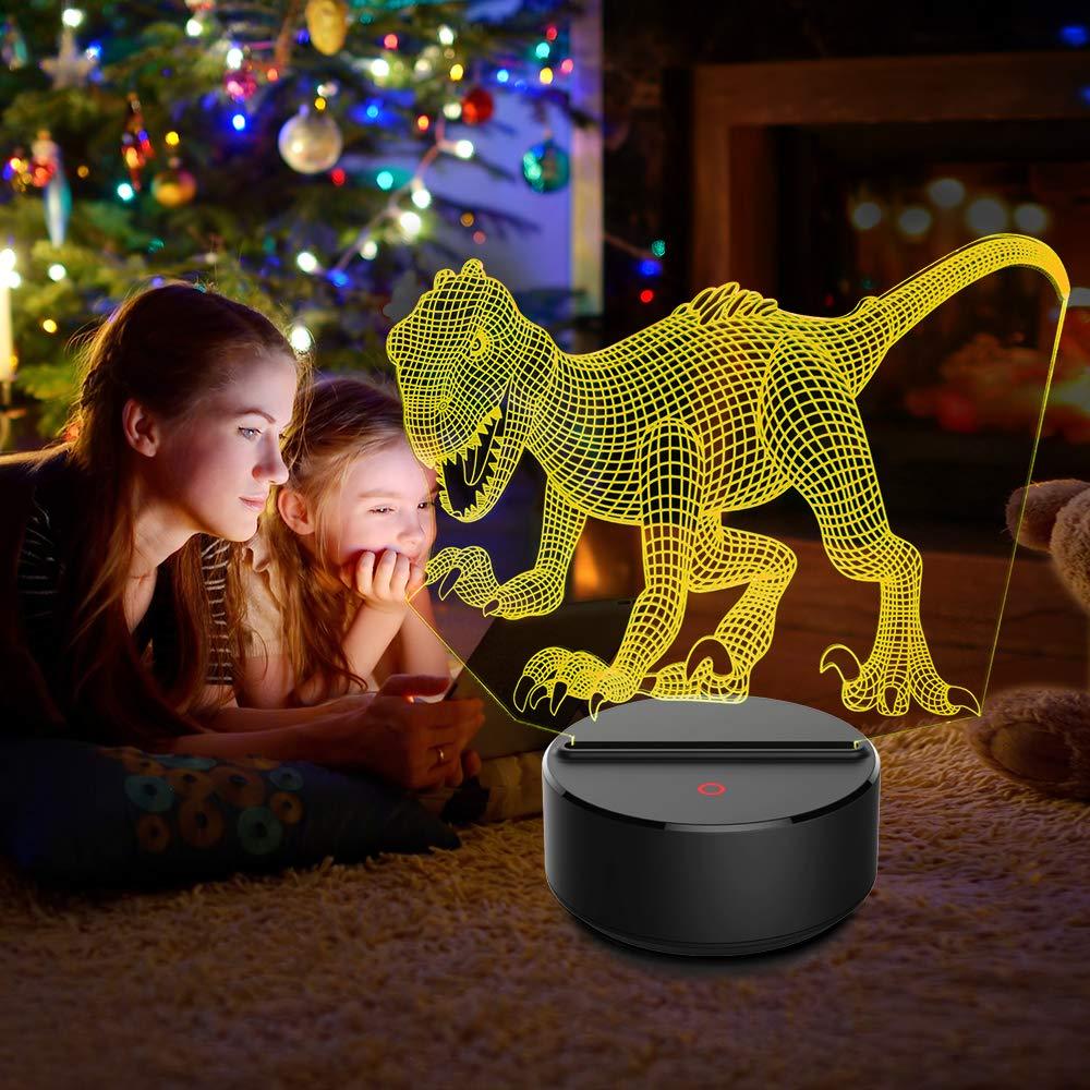 Night Lights for Kids Dinosaur Lamp Kids Night Light Christmas Gifts Decorations Dinosaur Toys 3D Bedside Lamps 7 Colors Change Nightlights Birthday Gifts for Girls Boys Baby Indoraptor-03