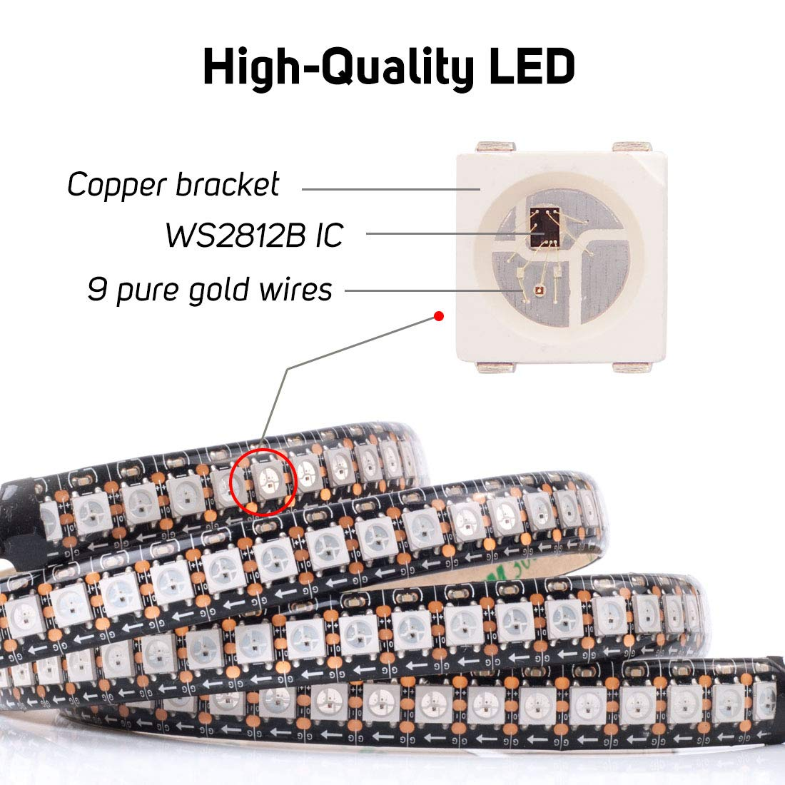 BTF-LIGHTING Strip Led WS2812b Indirizzabile Individualmente 5m 150Leds 30Leds//m Retro Flessibile PCB Nero Colore Dream IP30 Impermeabile DC5V